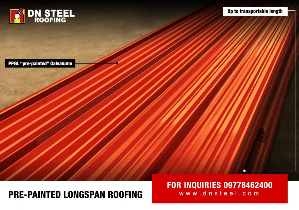 DN Steel is known for its 'PPGL' Pre Painted Galvalume longspan quality roofing. It comes in various profiles and colors suitable for every client's requirement.