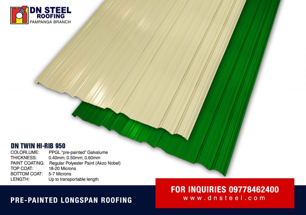 DN Twin Hi-Rib 950 profile is a fast selling profile not only in NCR but also in DN Luzon branches. It can also be curved and applicable both to residential and commercial structures.
