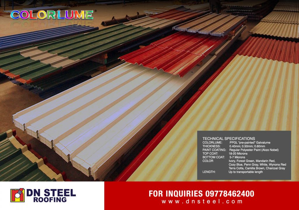DN Steel was the first to come out with a quality material known as Colorlume or Pre-painted Galvalume, and with its various roofing profiles suitable for every client's needs.