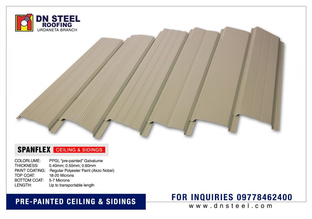 DN Steel's pre-painted metal ceiling are best and commonly used in exterior eaves and sidings both in residential and commercial applications.
