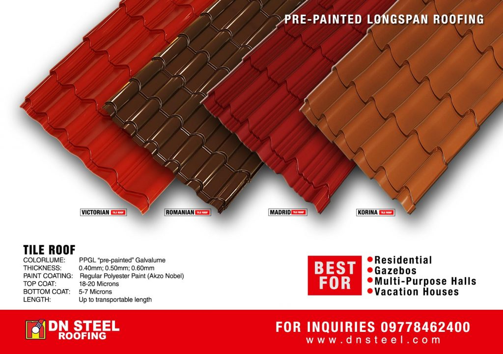 DN Steel's tile roofs are best recommended for residential, multi-purpose halls and of similar applications.  It has four elegant designs, comes in different colors that may suit every client's need.