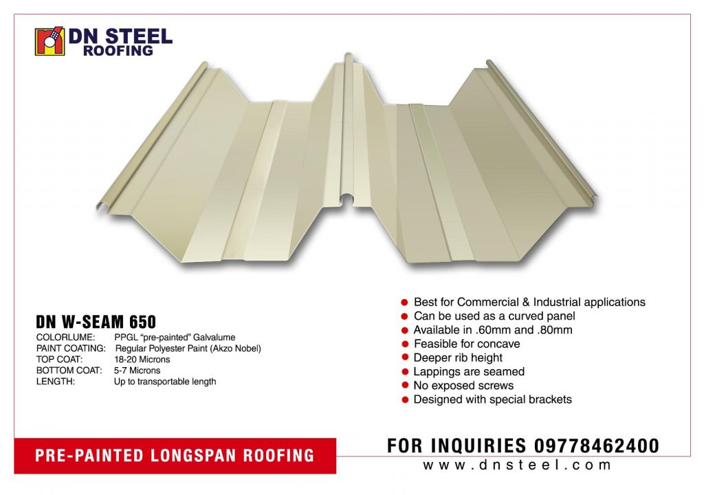 DN W-SEAM 650 is one of DN Steel's newest profile specially designed for commercial and industrial applications.  Feasible to use for almost flat roofing and more than 50 mts in length.