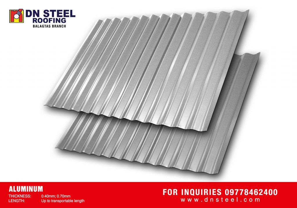 DN Steel carries various aluminum roofing profiles in 0.40mm and 0.70 thicknesses. This is strongly recommended for corrosive environments.