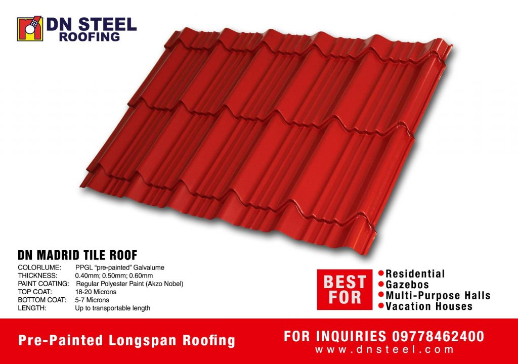 DN Steel's Madrid tile roof is one of the fast and  best selling profile recommended for residential and vacation houses as well.
